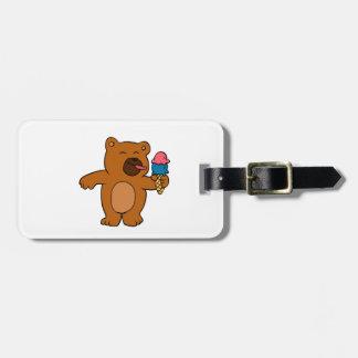 Étiquette À Bagage L'ours de bande dessinée mange la crème glacée