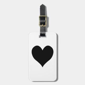 Étiquette À Bagage M. et Mme noirs Calligraphy Name Design de coeur