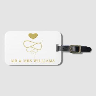 Étiquette À Bagage M. et Mme ornement   de coeur d'or de  