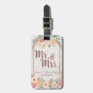Étiquette À Bagage M. et Mme roses Floral Monogram Wedding d'or