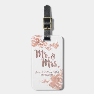 Étiquette À Bagage M. et Mme roses Simple Floral Wedding d'or