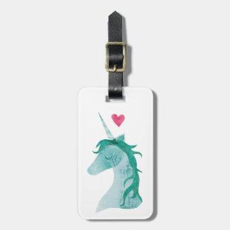 Étiquette À Bagage Magie bleue de licorne avec le coeur