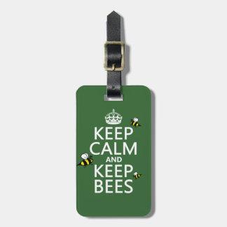 Étiquette À Bagage Maintenez calme et gardez les abeilles - toutes