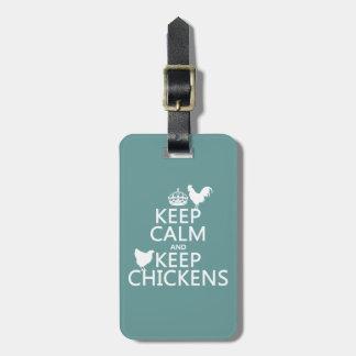 Étiquette À Bagage Maintenez calme et gardez les poulets (toute