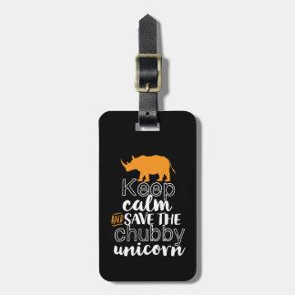 Étiquette À Bagage Maintenez les économies de calme le rhinocéros