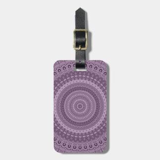 Étiquette À Bagage Mandala mauve de cercle