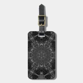 Étiquette À Bagage Mandala oriental de zen noir et blanc