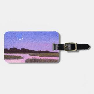 Étiquette À Bagage Marais de crépuscule de croissant de lune et de