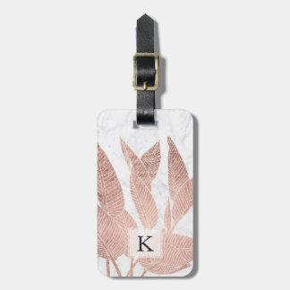 Étiquette À Bagage Marbre blanc tropical rose moderne de feuille d'or