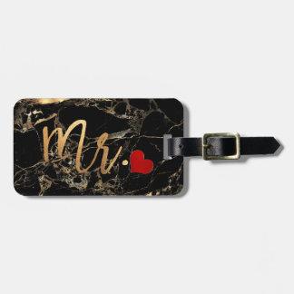 Étiquette À Bagage MARBRE de PixDezines MR BLACK+OR DE FAUX