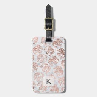 Étiquette À Bagage Marbre rose de blanc d'éléphants de Paisley d'or