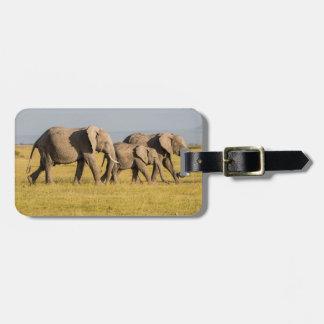 Étiquette À Bagage Marche de famille d'éléphant