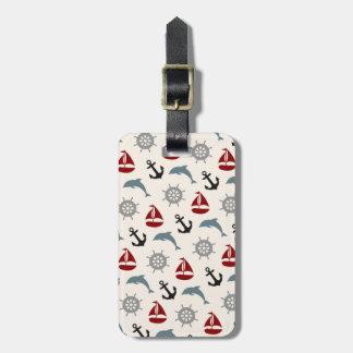 Étiquette À Bagage Marine et rouge de motif d'ancre de dauphin de