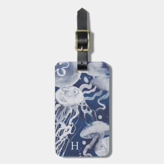 Étiquette À Bagage Méduses sur l'arrière - plan de marine
