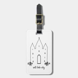 Étiquette À Bagage moderne simple de temple de Salt Lake City Utah