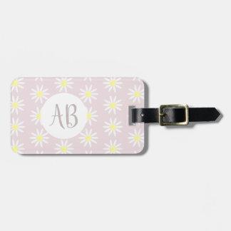 Étiquette À Bagage Monogramme/adresse en pastel de motif de fleur de