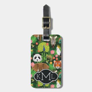 Étiquette À Bagage Monogramme animal tropical du mélange |