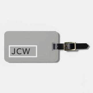 Étiquette À Bagage Monogramme audacieux de cadre simple de blanc gris