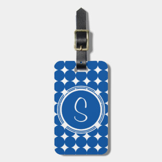 Étiquette À Bagage Monogramme bleu de point de polka