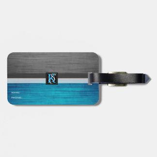 Étiquette À Bagage Monogramme bleu et gris du ton deux simple