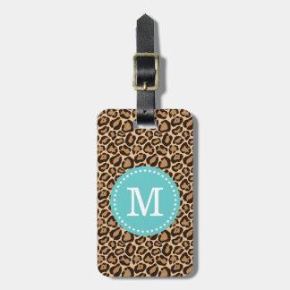 Étiquette À Bagage Monogramme de coutume d'empreinte de léopard et de