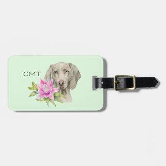 Étiquette À Bagage Monogramme de l'aquarelle | de chien et de lis de