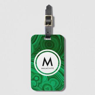 Étiquette À Bagage Monogramme de minerai de malachite
