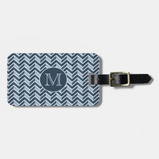 Étiquette À Bagage Monogramme de motif de Chevron de bleu et de bleu