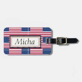 Étiquette À Bagage Monogramme de motif de drapeau américain
