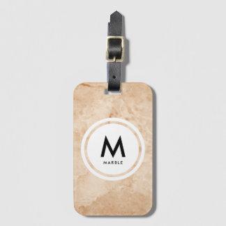 Étiquette À Bagage Monogramme en pierre de marbre élégant