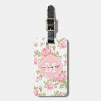 Étiquette À Bagage Monogramme floral de roses vintages Girly