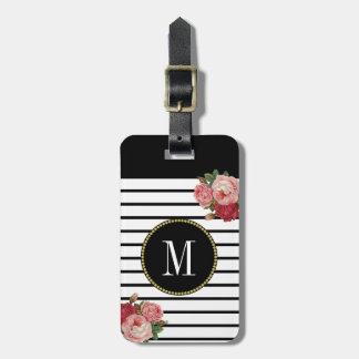 Étiquette À Bagage Monogramme floral d'or antique rayé blanc noir