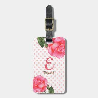 Étiquette À Bagage Monogramme floral personnalisé de roses de rose