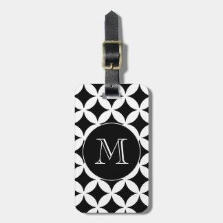 Étiquette À Bagage Monogramme géométrique blanc noir de coutume de