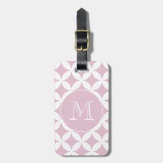 Étiquette À Bagage Monogramme géométrique blanc rose de coutume de