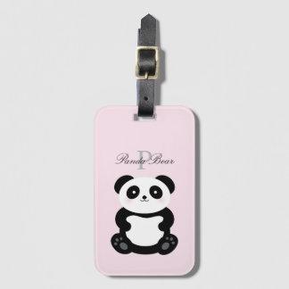 Étiquette À Bagage Monogramme Girly mignon d'ours panda de bébé