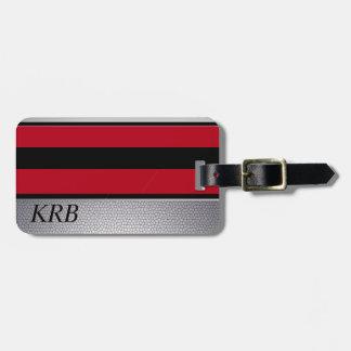 Étiquette À Bagage Monogramme gris rouge noir de conception de