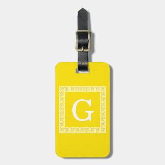 Étiquette À Bagage Monogramme initial principal grec blanc jaune du