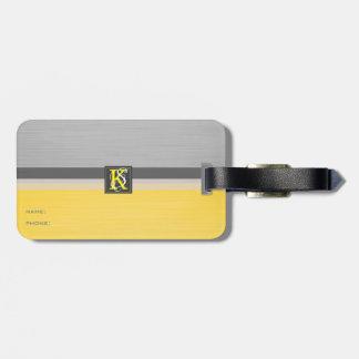 Étiquette À Bagage Monogramme jaune et gris du ton deux simple