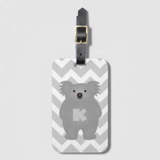 Étiquette À Bagage Monogramme mignon d'ours de koala de bébé de