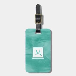 Étiquette À Bagage Monogramme moderne de marbre subtil vert turquoise