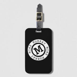 Étiquette À Bagage monogramme noir/nom rond et lettre initiale de M