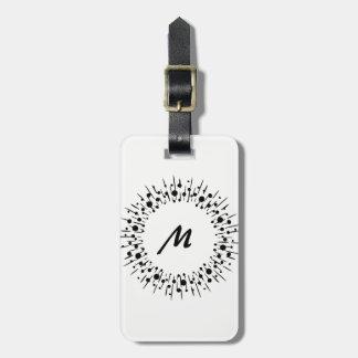 Étiquette À Bagage Monogramme personnalisé noir et blanc