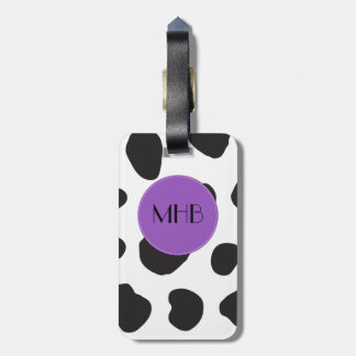 Étiquette À Bagage Monogramme - poster de animal, taches de vache -