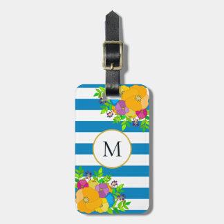 Étiquette À Bagage Monogramme rayé blanc floral audacieux de bleu de
