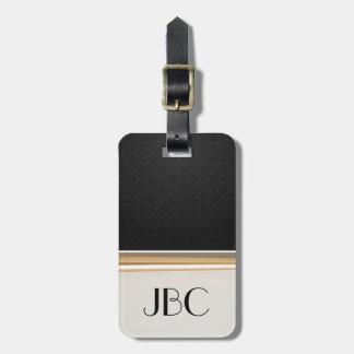 Étiquette À Bagage Monogramme réuni par tuile de diamant noir