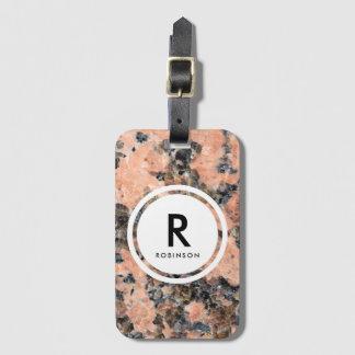 Étiquette À Bagage Monogramme rose de roche de granit