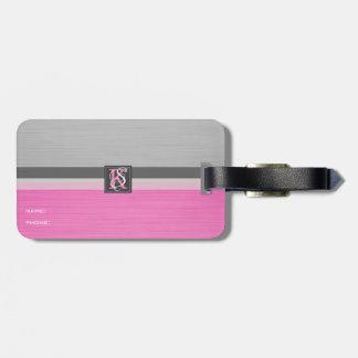 Étiquette À Bagage Monogramme rose et gris du ton deux simple