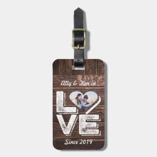 Étiquette À Bagage Monogramme rustique de cadre de coeur de photo de