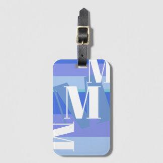 Étiquette À Bagage monogramme sur le bleu